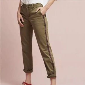 Anthropologie Chino Army Green Relaxed Pants